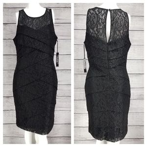 WHBM Layered Lace Slimming Dress Cocktail 10 NWT